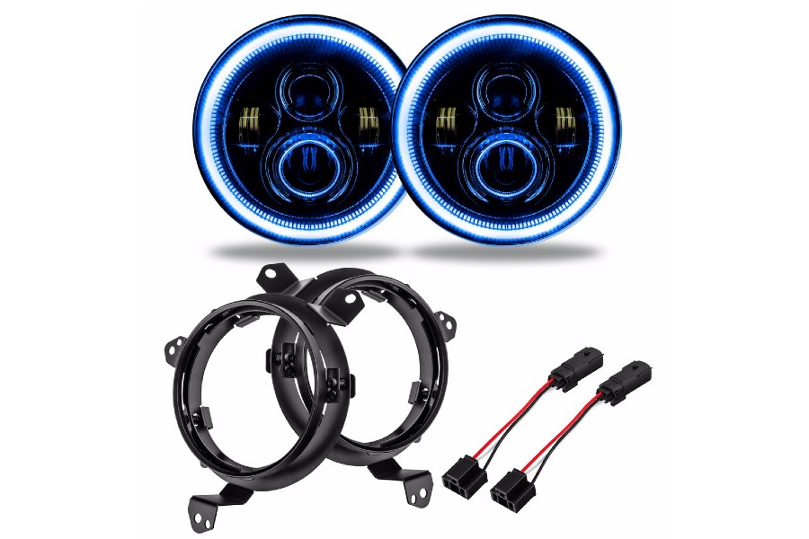 Oracle 7in. High Powered LED Headlights - Pair - Blue - JT/JL