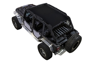 SpiderWebShade Front and Rear Rancho Rock Gear Tube Door ShadeSkins - Grey - JK 4Dr