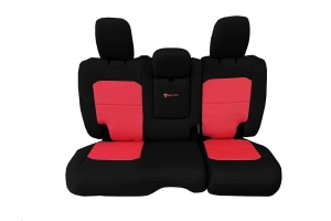 Bartact Tactical Rear Seat Cover w/Fold Down Armrest Black/Red - JL 4dr