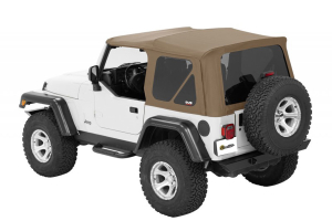 Bestop Twill Supertop NX Soft Top with Tinted Rear and Side Windows, No Doors, Complete Soft Top - Tan Twill (Part Number: )