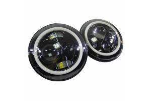 Quake LED 7in Headlights - White DRL Halo & Amber Turn Signals - JK/LJ/TJ/CJ