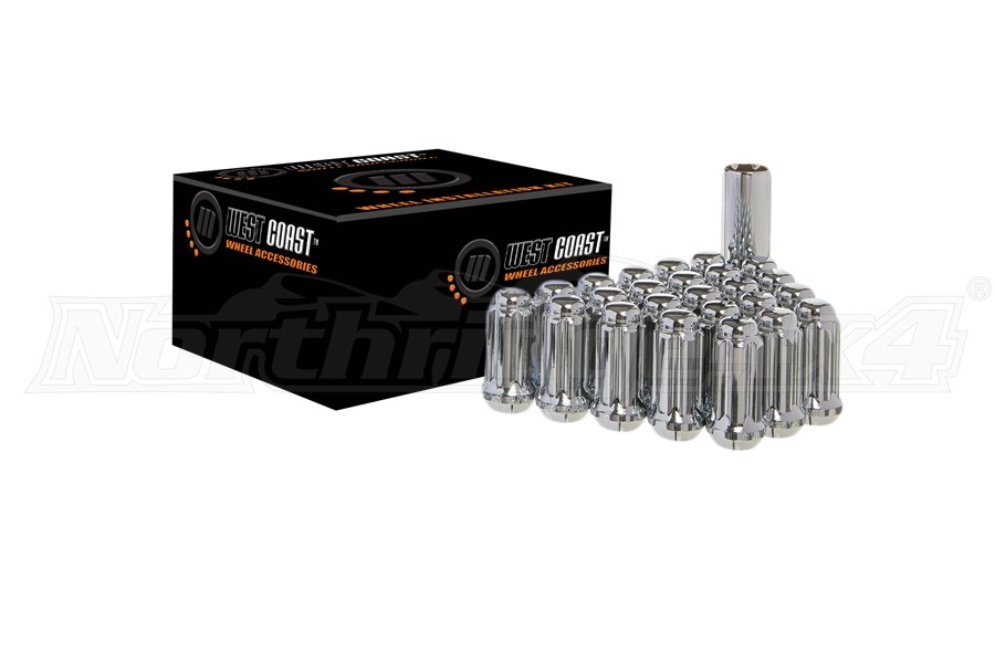 West Coast 6 LUG 1/2x20 Closed End Wheel Installation Kit, Chrome (Part Number:W5612ST)