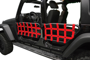Dirty Dog 4X4 Olympic Front & Rear Tube Door Netting, Red - JK 4DR
