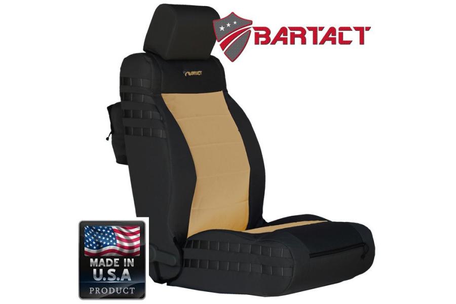 Bartact Tactical Series Front Seat Covers - Black/Khaki, SRS-Compliant - JK 2011-12
