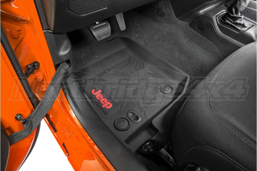 Mopar All-Weather Floormats w/ Red Jeep Logo - JT