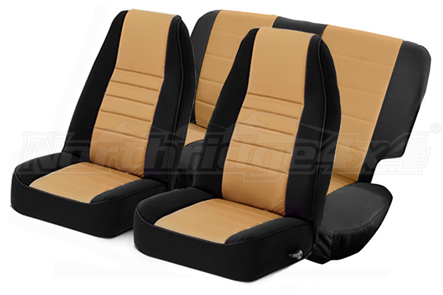 Smittybilt Neoprene Front and Rear Seat Covers Tan  (Part Number:471625)