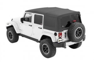 Bestop Twill Supertop NX Soft Top with Tinted Rear & Side Windows, No Doors, Grey Twill (Part Number: )