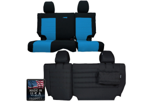 BARTACT SUPREME 2007 Jeep JK Seat Cover Rear Split Bench 4 Door (Latches at top of seat)Outer Color: Black Inner Color: Blue (Part Number: )