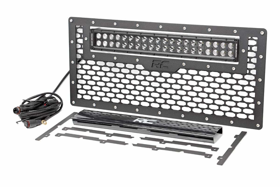 Rough Country Grille w/ Black Series Dual Row Light Bar 20in (Part Number:10545)
