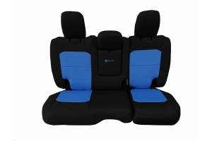 Bartact Tactical Rear Seat Cover w/Fold Down Armrest Black/Blue - JL 4dr