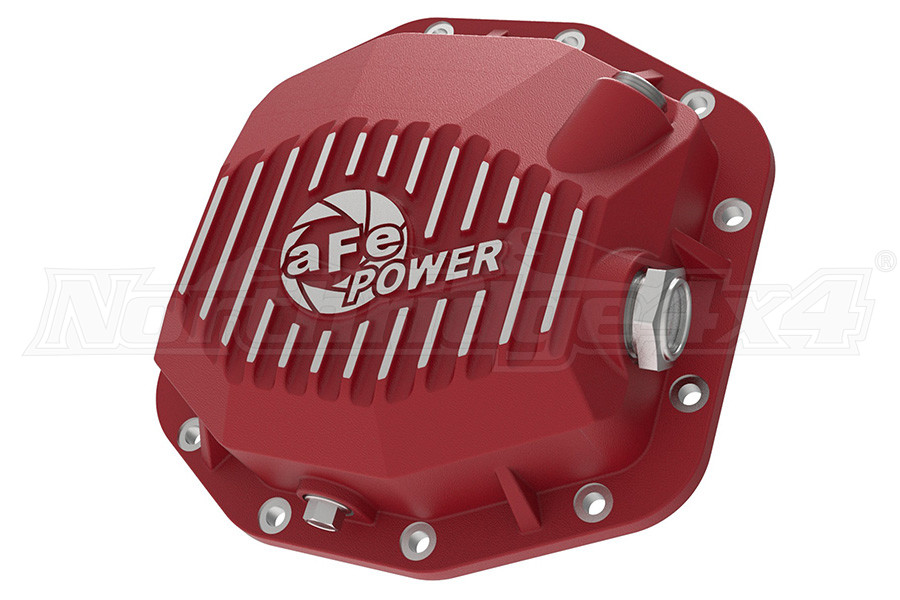 AFE Power Pro Series Rear Diff Cover Red w/ Machined Fins, M220-12 - JL RUBICON