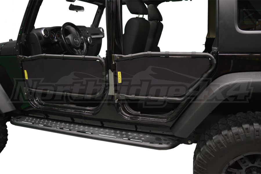 Dirty Dog 4x4 Olympic Tube Door Screen Front & Rear,  Black - JK 4DR