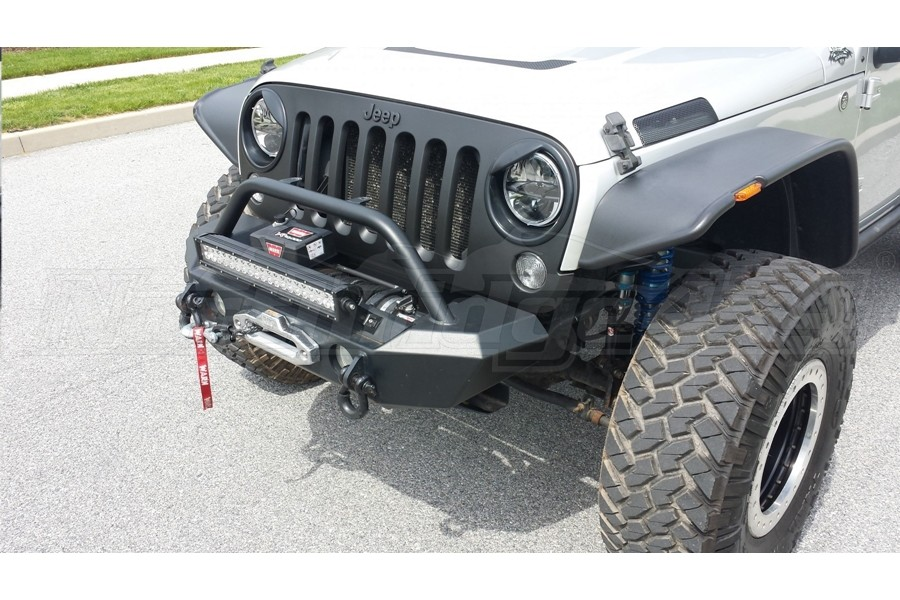 LOD Signature Series Shorty Front Bumper w/NO GUARD For Warn Power Plant Winch Black - JK