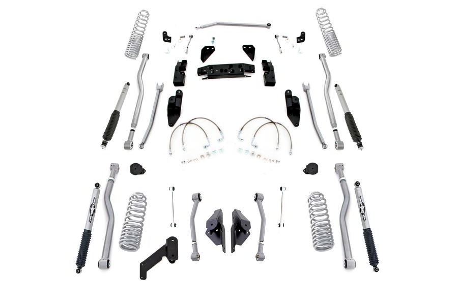 Rubicon Express Progressive Coil Extreme Duty 4-Link Long Arm Lift Kit 3.5in w/Mono Tube Shocks - JK 4DR