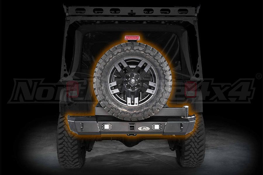LOD Signature Series Armor Lite Gen 4 Shorty Rear Bumper w/Door Linked Tire Carrier and Rigid Cut Outs, Black (Part Number:JBC0775)