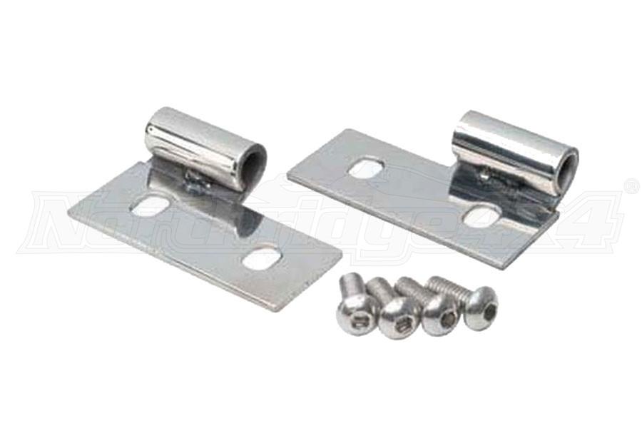 Smittybilt Lower Door Hinge Brackets Stainless Steel Pair - TJ/LJ/YJ/CJ