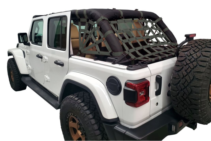 Dirty Dog 4x4 Netting Kit Spider Sides 3pc Olive Drab - JL 4dr