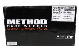 Method Race Wheels Standard Series Wheel Matte Black 17x9 5x5 - JT/JL/JK