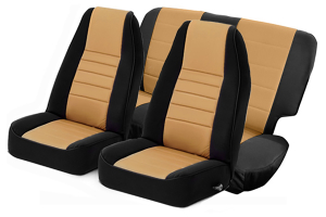 Smittybilt Neoprene Front and Rear Seat Covers with Black Sides / Tan Center ( Part Number: 471625)