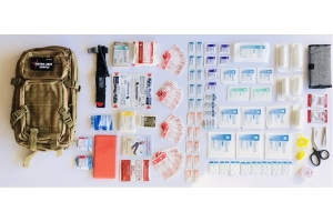 Outer Limit Supply Individual First Aid Kit Backpack - Coyote, Red Stitching