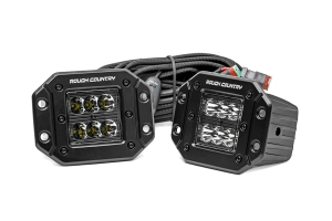 Rough Country 2in Flush Mount Black Series Square Lights (Part Number: )