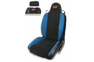 MasterCraft Baja RS Adj. Headrest Reclining Seat w/BRS Stitching - Black/Black/Blue