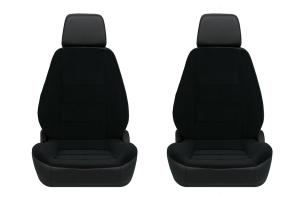 Corbeau Sport Black Vinyl/Cloth Seat Pair
