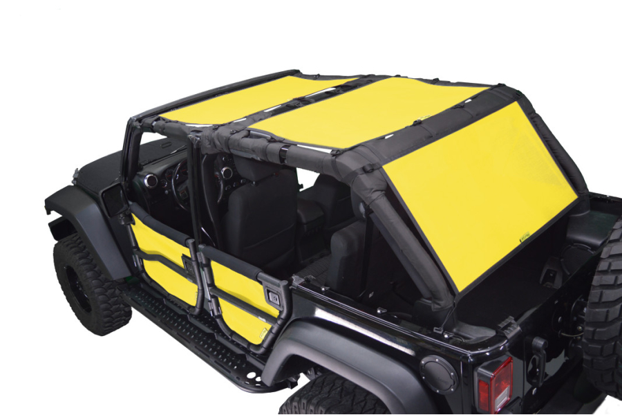 Dirty Dog 4x4 Sun Screen 3 pc Front, Back and Cargo Yellow - JK 4dr