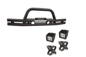 Rugged Ridge Double Tube Front Bumper w/ Black X-Clamp LED Kit (Part Number: )