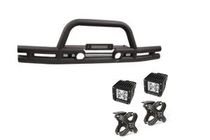 Rugged Ridge Double Tube Front Bumper w/ Black X-Clamp LED Kit - JK