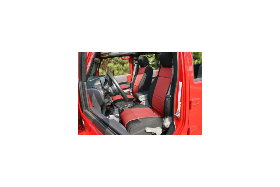 Rugged Ridge Front Seat Covers Black/Red (Part Number:13214.53)