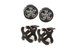 Rugged Ridge X-Clamp & Round LED Light Kit, Black, Small