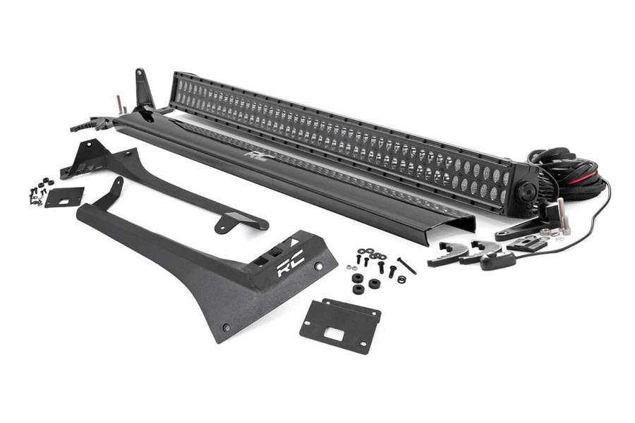 Rough Country Upper Windshield Kit w/ Dual-Row Black Series LED Light Bar - JT/JL