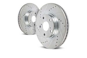 Power Stop Evolution Cross-Drilled and Slotted Rotor Set, Front - TJ/YJ 1990-99