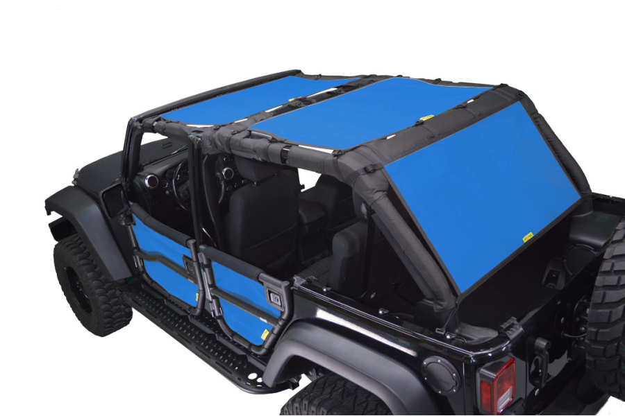 Dirty Dog 4x4 Sun Screen Front and Back Seats Blue (Part Number:J4SS07F2BL)