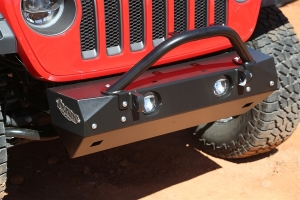 Rock Hard 4x4 Stubby Front Bumper Winch Guard with Light Mount  (Part Number: )