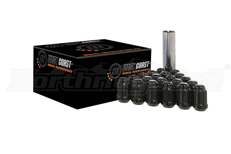 West Coast 14x1.5 Black Spline Drive Lug Nut Kit, 1.4in – qty 24 (Part Number:W56014SB)