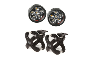 Rugged Ridge X Clamp and Round LED Kit, Black, Large (Part Number: )