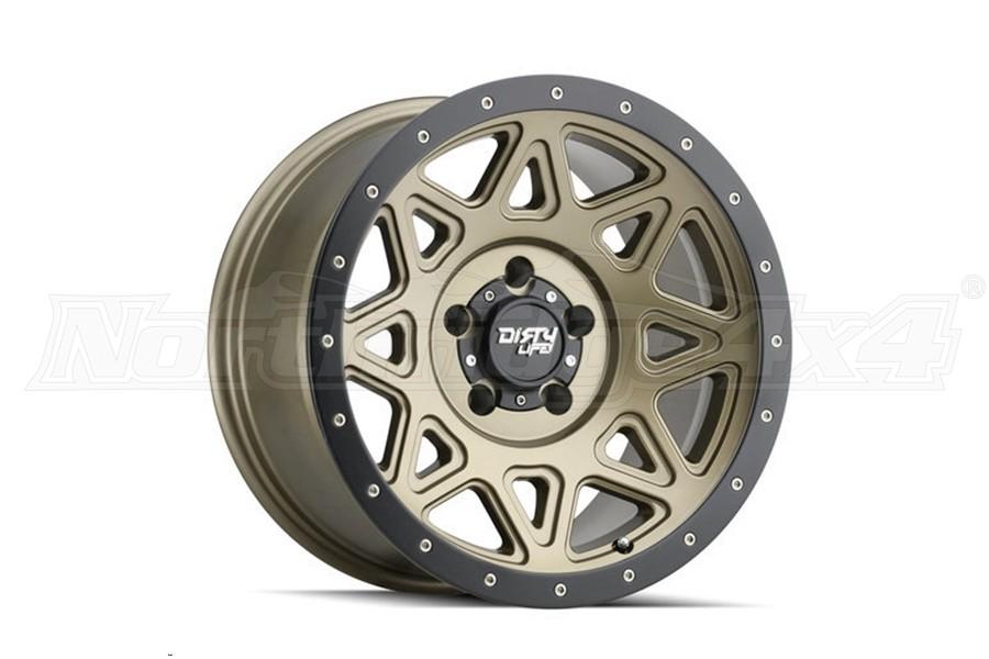 Dirty Life 9305 Theory Series Wheel, Matte Gold w/Matte Black Lip 20X9 5x5  - JT/JL/JK