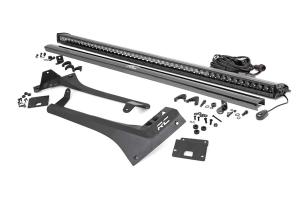 Rough Country Upper Windshield Kit w/ Single-Row Black Series LED Light Bar - JT/JL
