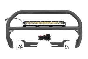 Rough Country Nudge Bull Bar - 20in Chrome LED Light Bar  - Ford Bronco