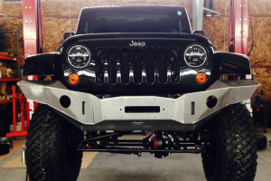 Nemesis Industries Outback Front Bumper w/ Winch Plate Offset Drum - Semi Gloss Black Powder Coating - JK