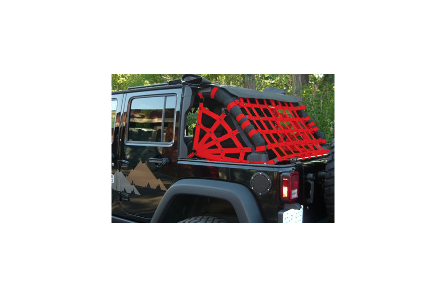 Dirty Dog 4x4 Spider Netting Rear Red (Part Number:J4NN07RSRD)