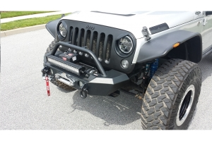 LOD Signature Series Shorty Front Bumper w/Bull Bar For Warn Power Plant Winch Black - JK
