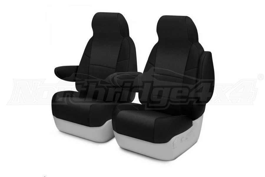 CoverKing Neosupreme Front Seat Covers - Solid Black, Side Airbag Compatible - JL 2dr w/Height Adj. Seat