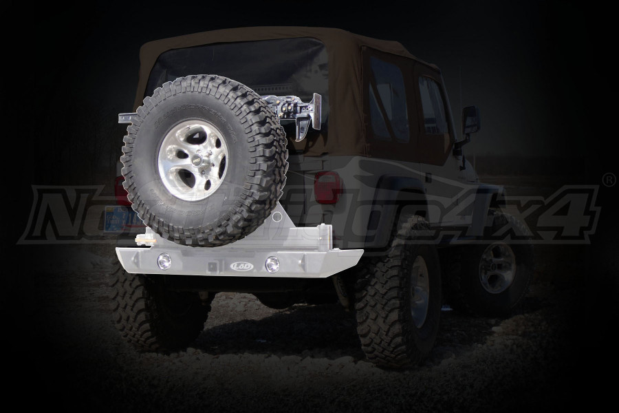LOD Signature Series Rear Bumper w/Tire Carrier and Round Light Provisions Bare Steel (Part Number:JBC9602)