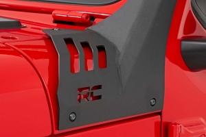 Rough Country Upper Windshield Kit w/ Single-Row Chrome Series LED Light Bar  - JT/JL