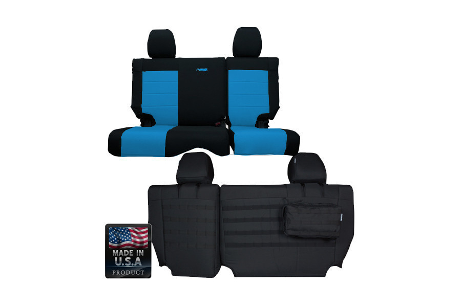BARTACT SUPREME 2007 Jeep JK Seat Cover Rear Split Bench 4 Door (Latches at top of seat)Outer Color: Black Inner Color: Blue (Part Number:JKSC2007R4BL)
