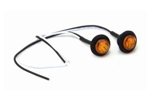 Motobilt 3/4in Amber Lens LED Fender/Side Marker Light - Pair