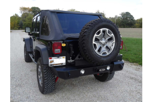 LOD Signature Series Gen 4 Armor-Lite Shorty Door Linked Rear Bumper w/Tire Carrier, Black (Part Number: )